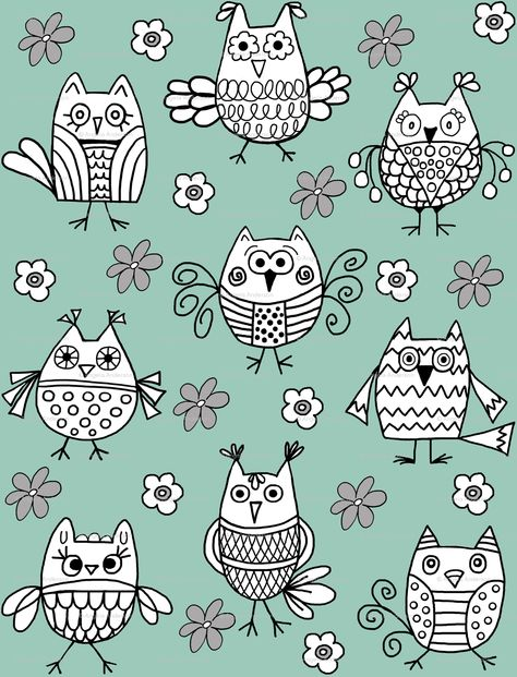 """""""Funky Feathered Friends"""" Owl Fabric by Angela Anderson"""