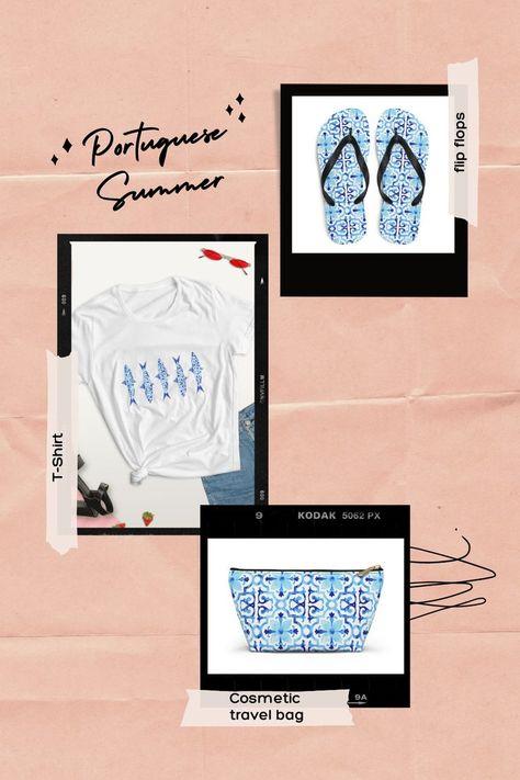 Summer items with portuguese tiles design (flip flops, T-shirt, pounch/cosmetic travel bag) #azulejosportugal #summerfashion #portuguesetiles #muchhaveforsummer #beachaccessories #summerfashion #portugaltravel