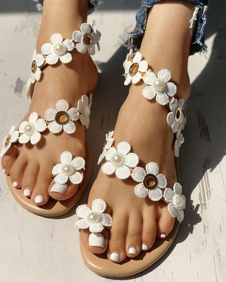 Womens Boho Flower Strap Flat Sandals Toe Ring Casual Summer Beach Holiday Shoes