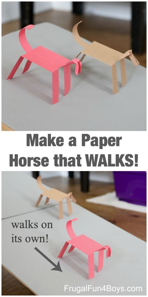 Make a Paper Horse that WALKS! - Frugal Fun For Boys and Girls - A Walking Paper Horse! Yes, it's a activity but it is also incredible fun! Paper Crafts For Kids, Foam Crafts, Craft Activities For Kids, Stem Activities, Toddler Activities, Craft With Paper, Horse Crafts Kids, Paper Folding For Kids, Children's Day Activities