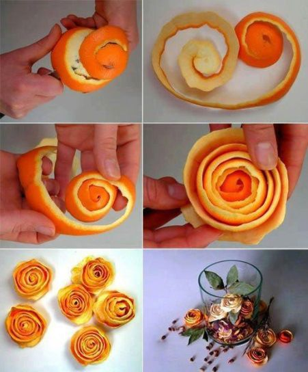 to make orange peel roses (image source)  Decoration id