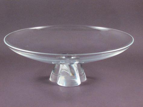 e802072fe38 Vintage Steuben Crystal Glass Low Bowl with Pedestal Base Signed Art Glass  Bowl