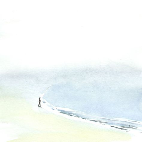 Nebel Am Strand Aquarell Wasserfarbe Watercolor Strand