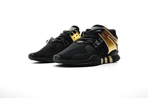 BB1310 Adidas EQT Support ADV Primeknit 93 Black Metallic Gold Sneakers Mens 9fb5a506e4