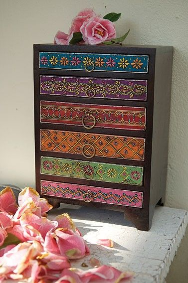 Indian Chest Of Drawers I Think Ill Do Something Like This On That Old Vintage Piece Bought