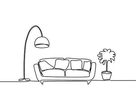 Continuous Line Drawing Interior With Sofa Floor Lamp And Plant Line Drawing Continuous Line Drawing Line Art Drawings