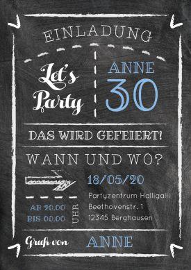 Trendy Einladungskarte Zum 30 Geburtstag In Modernem Schultafel