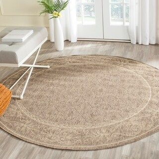Safavieh Courtyard Elayne Indoor Outdoor Rug 7 10 X 7 10 Round Brown Natural Round Area Rugs Indoor Outdoor Rugs Cool Rugs