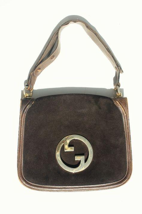 1a4c1bdbcd5964 Vintage GUCCI BAG 1970 70s BLONDIE HANDBAG Brown Suede GG Medallion Flap  Purse #Gucci #ShoulderBag