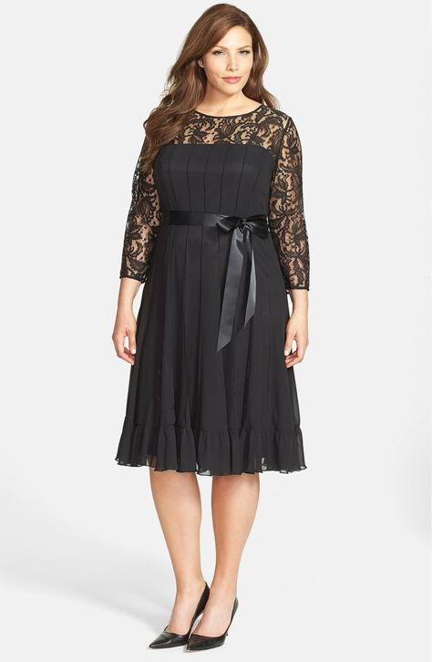 Free shipping and returns on Adrianna Papell Lace Yoke Chiffon Fit & Flare Dress (Plus Size) at Nordstrom.com. A blossoming lace yoke brings a hint of sheer romance to a graceful chiffon dress featuring a satin ribbon sash and sweetly ruffled hemline. Vertical seams circle the airy style for a more structured shape.