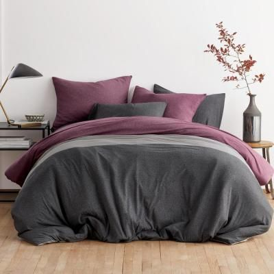 Logan Jersey Cotton Blend Berry Multi Full Duvet Cover Duvet Covers Duvet Covers Twin Queen Duvet Covers