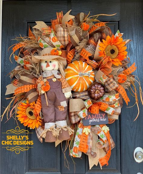 Excited to share this item from my #etsy shop: Fall Mesh Wreaths, Scarecrow Wreath,Scarecrow Mesh Wreath, Fall Deco Mesh Wreath, Fall Wreath, Autumn Mesh Wreath, Front Door Wreath