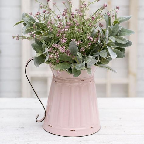 Vintage Farmhouse Styled Wide Mouth Pink Pitcher – A Uniquely Inspired Life – farmhouse decor flowers French Country Rug, French Country Bedrooms, French Country Decorating, French Country Bathroom Ideas, French Cottage Decor, Rustic French, French Chic, Shabby Cottage, Country Farmhouse Decor