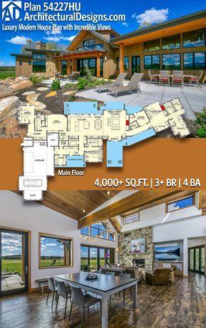 Plan 54227hu Luxury Modern House Plan With Incredible Views House Plans Modern Farmhouse Plans Modern House Plan