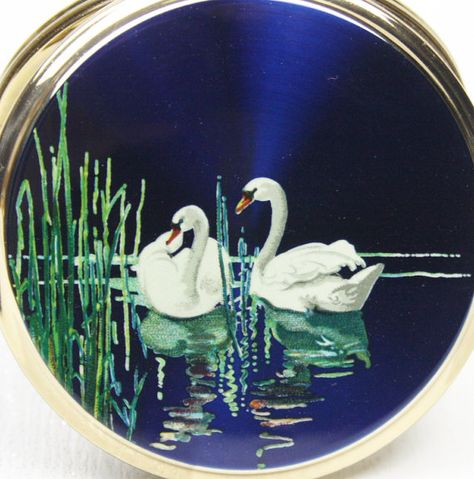 Convertible Powder Compact, Swan Compact, Bird Accessory, Lake Scene, Powder Compact, Make Up Case, Something Blue, Animal Pattern - 1950's