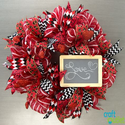Deco Mesh Valentines Wreath Video Tutorial. One wreath/Three Looks: CraftOutlet.com Blog