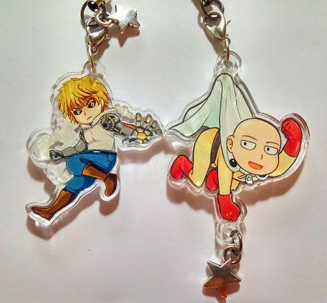 Saitama Genos key ring chain Keychain Anime Double sided One Punch Man keyring
