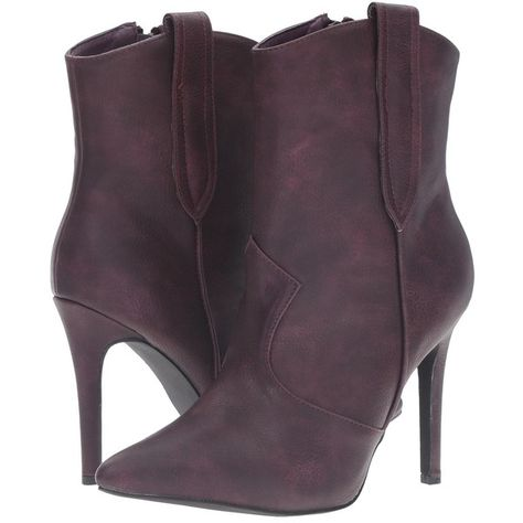 C Label Ariza-11 (Purple) Women's Boots ($46) ❤ liked on Polyvore featuring shoes, boots, purple, vegan boots, high heel stilettos, stiletto boots, pointed toe cowboy boots and high heel western boots
