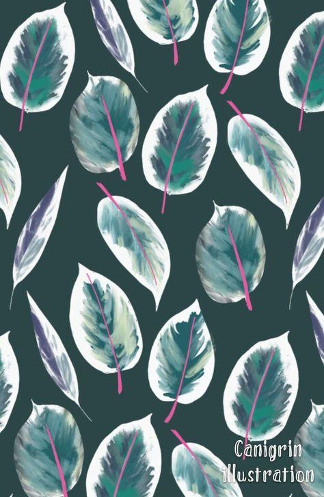 Monstera leaf, rubber plant leaf pattern, textile design, Ficus elastica print, deigned by canigrin YingChen's Portfolio - Portfolio