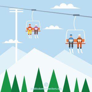 Publicdomainvectors Org Ski Lifts Ski Lift Skiing Winter Resort