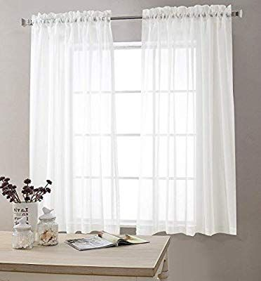 Amazon Com White Sheer Curtains 95 Inches Long For Living Room Rod Pocket Drapes For Bedroom Voile Window C White Sheer Curtains Curtains Living Room Curtains