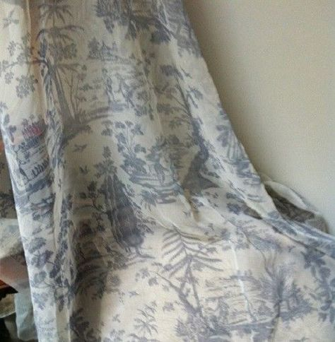 Winterthur Museum Collection toile blue sheer fabric french country  2 + yards #PortfolioTextiles #FrenchCountry
