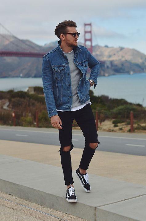 Black Jeans Denim Vans Street Sneakers Outfit Men Mens Outfits Denim Jacket Men