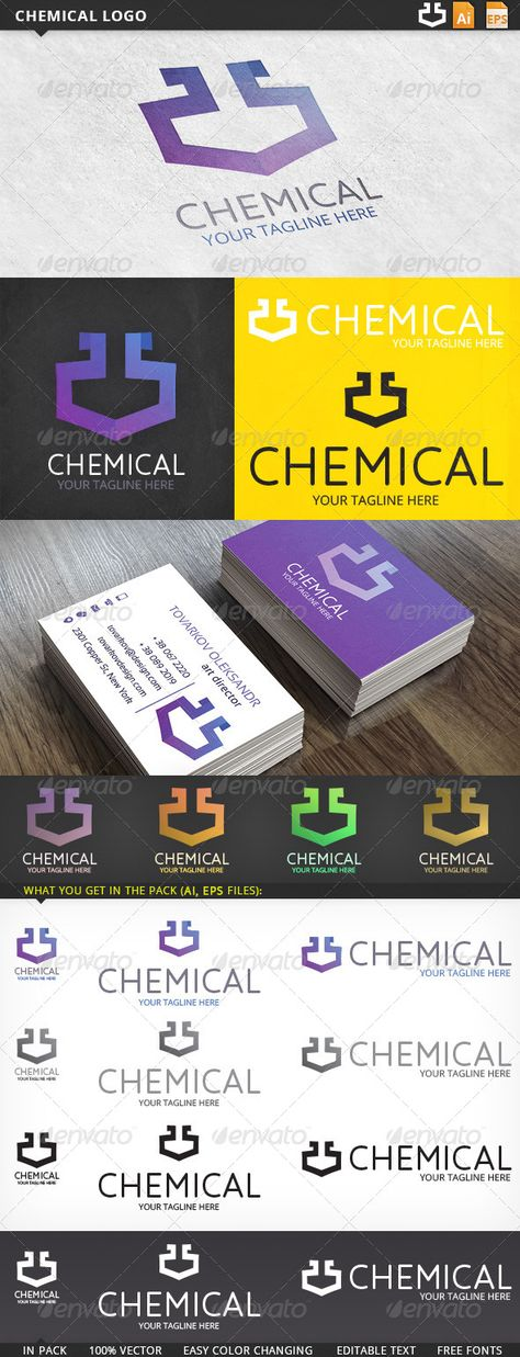 Chemical Logo  #GraphicRiver         Fully editable logo:    Ai 10, EPS 10 files  CMYK  100% vector (resizable)  easy color changing  editable text (free fonts)