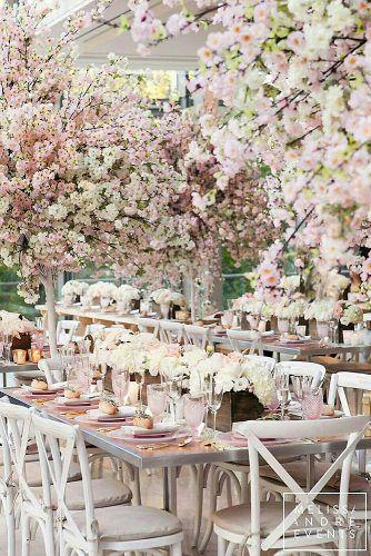 36 Glamorous Rose Gold Wedding Decor Ideas Cherry Blossom Theme Blossom Tree Wedding Cherry Blossom Wedding