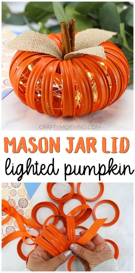diy fall decor Mason Jar Lid Lighted Pumpkins- cute fall craft to make! Cute fall decor for your home. Canning Ring Pumpkin, Mason Jar Pumpkin, Fall Mason Jars, Mason Jar Lids, Canning Jars, Jar Lid Crafts, Mason Jar Crafts, Halloween Mason Jars, Halloween Diy