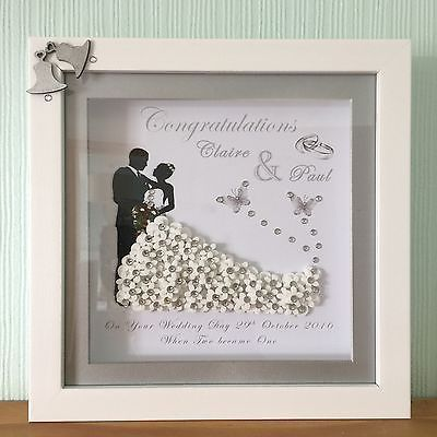 PERSONALISED DEEP BOX FRAME 3D GOLDEN SILVER WEDDING ANNIVERSARY GIFT PRINT