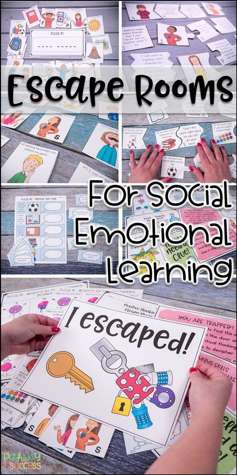 Escape Room Bundle for Social Emotional Learning Escape Room Bundle for Social Emotional Learning,School Counselor counseling social work emotional learning skills character Elementary Counseling, Counseling Activities, Therapy Activities, School Counseling, Learning Activities, Play Therapy, School Counselor Lessons, Therapy Worksheets, Speech Therapy