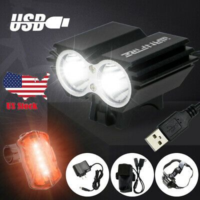 USB Rechargeable Bicycle Headlight LED Bike Head Light Front Rear Lamp Cycling