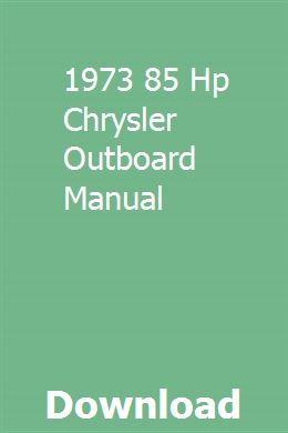1973 85 Hp Chrysler Outboard Manual Mercury Outboard Outboard Mercury