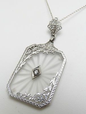 Art deco 14k white gold diamond camphor glass love birds pendant art deco 14k white gold diamond camphor glass love birds pendant necklace 50000 my jewerly box pinterest art deco white gold and bird mozeypictures Choice Image