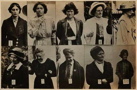 'Surveillance Photograph of Militant Suffragettes' by Criminal Record Office silver print mounted onto identification sheet, circa 1913