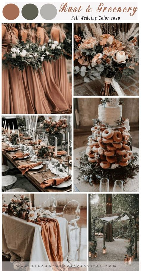 Rust + Green Wedding: rust bridesmaid dresses, white green bouquets, rust table runner, green backdrops and rust wedding dessert… Country Wedding Colors, Country Wedding Dresses, Fall Wedding Colors, Fall Wedding Decorations, Burgundy Wedding, Fall Wedding Themes, Country Weddings, Rustic Bridesmaid Dresses, Fall Wedding Bridesmaids