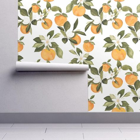 Removable Water-Activated Wallpaper Large Scale Fruit Clementines Orange Pink