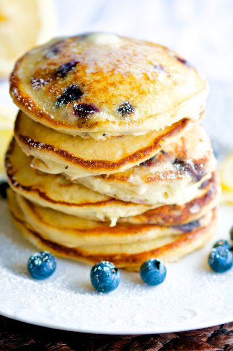 Lemon Ricotta Blueberry Pancake Stack