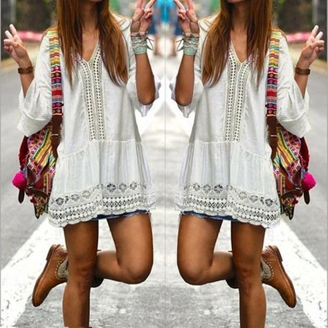 Womens Boho Summer Dress 2018 Sexy Deep V-neck Bell Sleeve Hollowrricd – rricdress