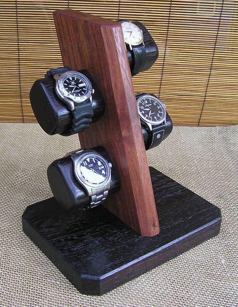Bubinga / Wenge Watch Stand Watch Display by OnondagaHillWoodwork