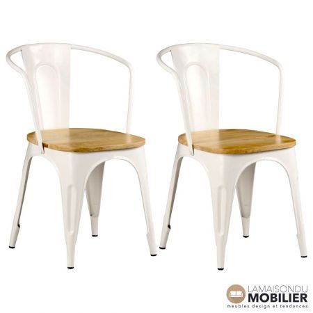 lot de 2 chaises blanches acier et bois