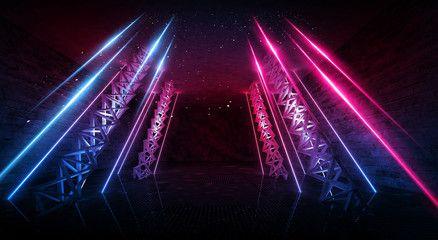 Dark Scene Room With Neon Light Beams Futuristic Neon Background Smoke Night View Wall Lighting Abstract Light Neon Backgrounds Light Beam Light Tunnel