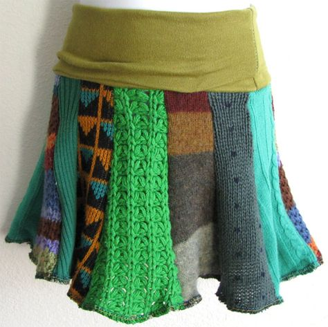 Upcycled Recycled Refashioned sweaters made into a skirt