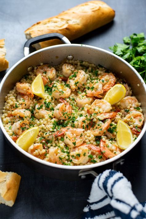 Classic shrimp scampi recipe served over Israeli couscous. Made with shrimp and couscous tossed in a garlic, butter, lemon, and white wine-based sauce. Shrimp Recipes, Fish Recipes, Chicken Recipes, Baby Recipes, Couscous Recipes, Couscous Meals, Shrimp Couscous, Couscous Dishes, Vegetarian Recipes
