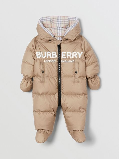 Logo Print Down-filled Puffer Suit in Walnut - Children Burberry United States , Luxury Baby Clothes, Winter Baby Clothes, Designer Baby Clothes, Baby Boy Outfits, Kids Outfits, Burberry Kids, Baby Coat, Kids Logo, Quilted Jacket