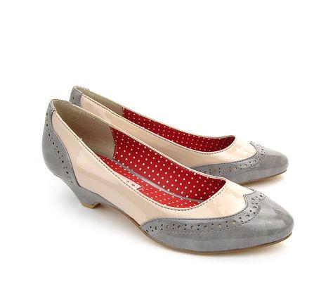 ce067a6c971 Baits  Ida  two tone low heel ladies spectator pump in Grey