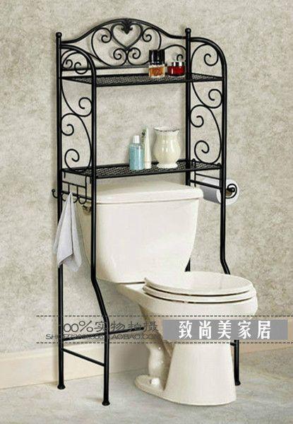 2019 The New Wrought Iron Shelf European Style Bathroom Toilet Toilet Rack Shelf Arrangement To Bathroom Styling Wrought Iron Furniture Bathroom Space Saver
