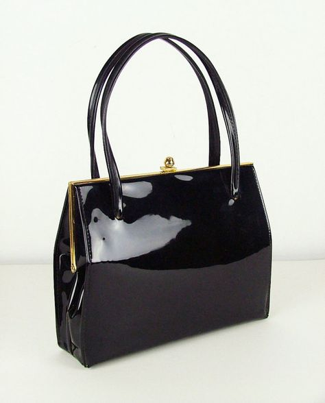 Black Patent 1960s Vintage Frame Handbag   Kelly Bag  09dd51fcc01bf