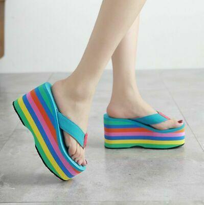 Womens Rainbow Wedge Thong